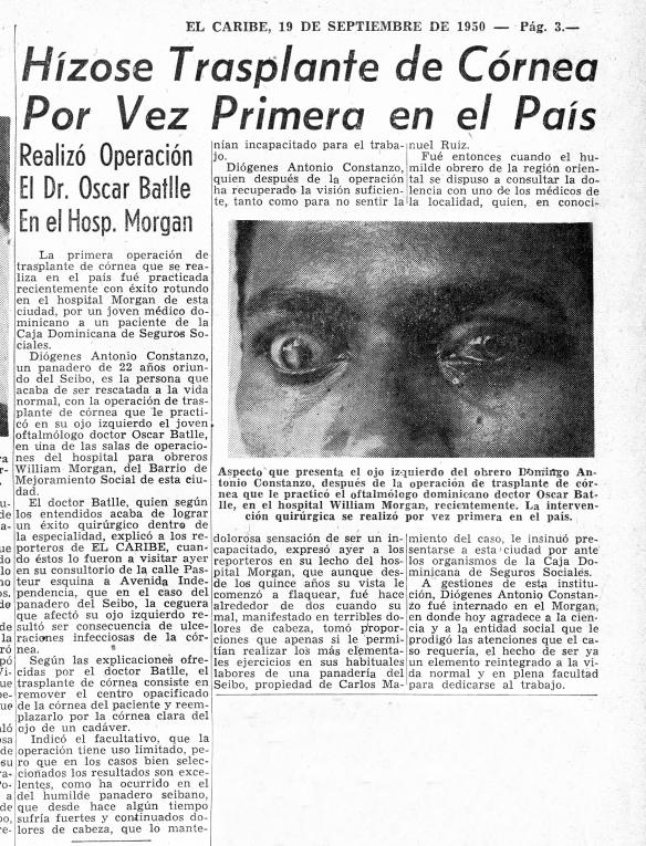 primer transplante de corneas en Republica Dominicana