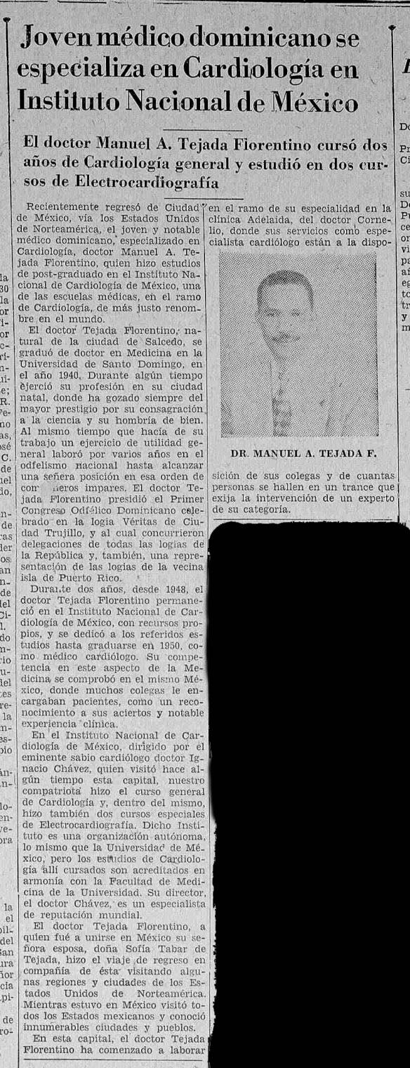 Reseña periodistica sobre el Dr. Tejada Florentino