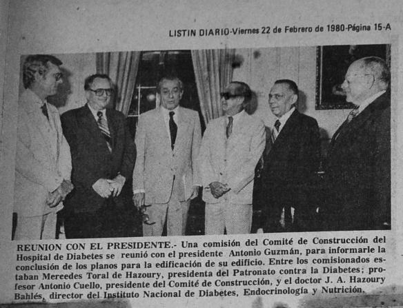 El Dr. Jorge Abraham Hazoury visita al Presidente Antonio Guzman 1980