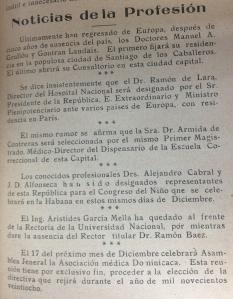 noticias de la profesion de 1927