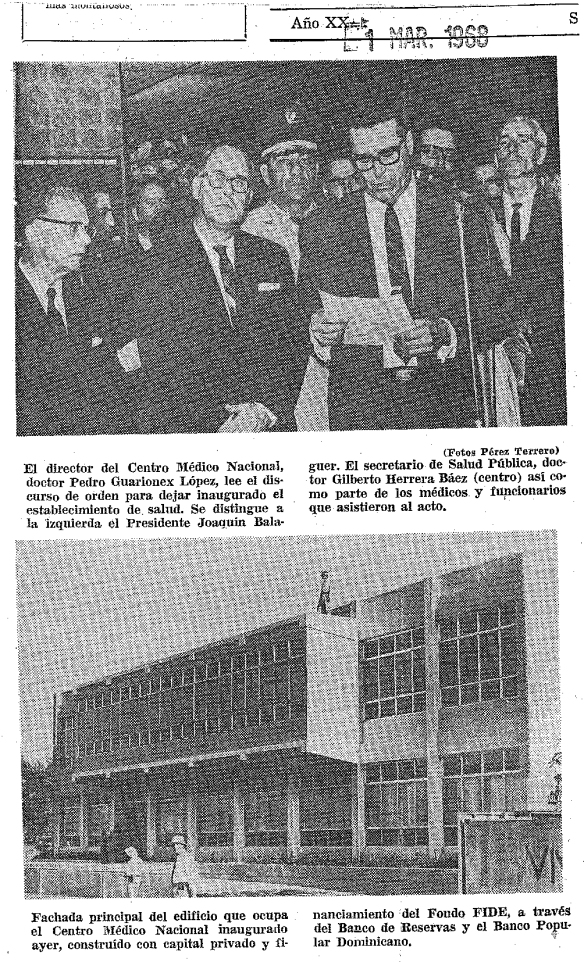 inauguracion centro medico 1968