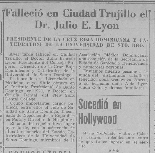 1942 fallece julio lyon la informacion